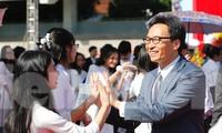 Phó Thủ tướng Vũ Đức Đam dự lễ khai giảng tại Trường Đại học Sư phạm Hà Nội sáng 23/10. Ảnh: Như Ý