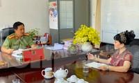 Trung tá Lê Văn Tuấn-Trưởng phòng An ninh điều tra Công an tỉnh Đắk lắk làm việc với PV Tiền Phong.