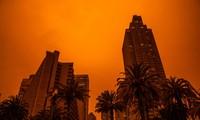 Các tòa nhà cao tầng ở khu vực Vịnh San Francisco dưới nền trời màu cam (Ảnh: Getty Image)
