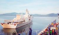 Biên đội tàu Hải quân nhân dân Việt Nam chào tạm biệt quê hương sang Liên bang Nga dự Army Games 2021