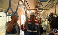 Đoàn tàu đầu tiên tuyến metro Bến Thành – Suối Tiên đã được TPHCM nhập về Depot Long Bình sẵn sàng chạy thử nghiệm. Ảnh: Huy Thịnh