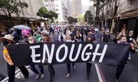 Người dân Úc biểu tình ở Sydney ngày 15/3. Ảnh: AP