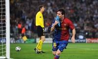 Lionel Messi ăn mừng bàn thắng vào lưới M.U ở trận chung kết Champions League 2009