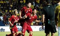 Anh Đức ghi bàn duy nhất giúp tuyển Việt Nam đánh bại Thái Lan. Ảnh: Hữu Phạm