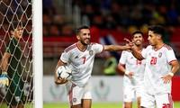 Ali Mabkhout (7) ăn mừng bàn thắng trước Thái Lan.