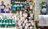 Thông điệp 'Chúng tôi đi làm vì bạn, bạn ở nhà vì chúng tôi' gây xúc động toàn cầu