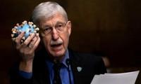 Tiến sỹ Francis Collins cầm một mô hình virus SARS-CoV-2 khi ông trình bày các vấn đề về dịch COVID-19 trước quốc hội Mỹ ảnh: Reuters