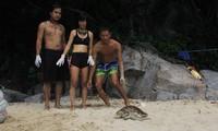 Nhóm bạn trẻ tại Đà Nẵng thả một chú rùa suýt bị làm mồi nhậu về biển vào tháng 10/2018 Ảnh: Thanh Trần