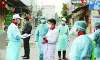 Lực lượng chức năng phong tỏa khu vực liên quan đến bệnh nhân số 243 ở Hạ Lôi, Mê Linh Ảnh: Hoàng Mạnh Thắng