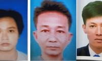 3 trong số đối tượng truy nã đặc biệt nguy hiểm gồm: Nguyễn Hữu Phước, Võ Văn Trung, Phạm Tấn Lộc (từ trái sang phải)