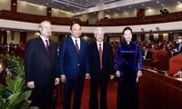 Tổng Bí thư, Chủ tịch nước Nguyễn Phú Trọng; Thủ tướng Nguyễn Xuân Phúc; Chủ tịch Quốc hội Nguyễn Thị Kim Ngân và Thường trực Ban Bí thư Trần Quốc Vượng tại Hội nghị Trung ương lần thứ 14