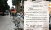Do không có giấy phép nên việc đào đường lắp đường ống nước sông Ðuống tại Ðại Thanh bị đình chỉ
