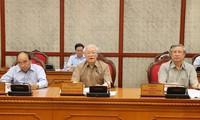 Tổng Bí thư, Chủ tịch nước Nguyễn Phú Trọng chủ trì họp Bộ Chính trị để phê duyệt quy hoạch Ban Chấp hành Trung ương khóa XIII, nhiệm kỳ 2021-2026; xem xét công tác nhân sự và quyết định thi hành kỷ luật cán bộ. ảnh: trí dũng-TTXVN