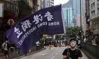 Một người biểu tình chống chính phủ ở Hong Kong ngày 24/5. ảnh: REUTERS