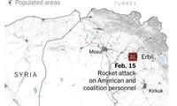 Địa điểm diễn ra vụ không kích hôm 25/2 nằm trên biên giới Syria-Iraq ảnh: New York Times