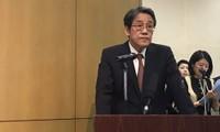 Đại sứ Nhật Bản tại Việt Nam Umeda Kunio phát biểu tại hội thảo ảnh: Bình Giang