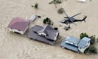 Cảnh ngập lụt ở tỉnh Nagano (Kyodo News)