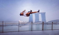 Trọng Hiếu nhào lộn tại Marina Bay (Singapore)
