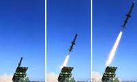 Những bức ảnh được nhật báo Rodong Sinmun của Triều Tiên đăng tải cho thấy một vụ phóng tên lửa hành trình đất đối hạm ảnh: Yonhap News