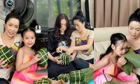 Á hậu - NSƯT Trịnh Kim Chi khoe thành quả gói bánh chưng của đại gia đình