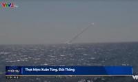 Hình ảnh tên lửa được phóng đi từ tàu ngầm Kilo của Hải quân nhân dân Việt Nam.