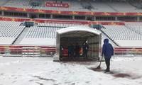 Tuyết phủ kín sân đấu trận chung kết U23 Việt Nam-U23 Uzbekistan