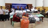 Nhiều đơn vị hỗ trợ lương thực, thực phẩm, quần áo, thuốc men cho các nạn nhân vụ vỡ đập Xe-Pian Xe-Namnoy. Ảnh: NVCC.