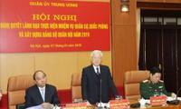Tổng Bí thư, Chủ tịch nước Nguyễn Phú Trọng, Bí thư Quân ủy Trung ương phát biểu khai mạc Hội nghị.