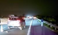 Hiện trường vụ tai nạn giao thông trên cao tốc Hà Nội - Lào Cai.