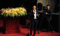 Sinh viên Vũ Đình Hoàng phát biểu tại Đại hội. Ảnh: Duy Phạm