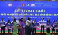 Dự án 'Máy phun thuốc điều khiển từ xa' đoạt giải nhất thi khởi nghiệp tỉnh Đồng Tháp