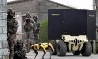 Chó robot được huấn luyện chiến đấu cùng với học viên quân sự Pháp.