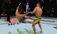 Cú đấm cực mạnh của Silva de Andrade đã khiến Gaetano Pirrello hổng cả 2 chân khỏi sàn đấu.