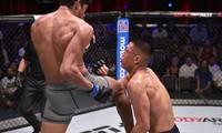 Pha lên gối khiến Steven Nguyễn bị hạ knock-out.