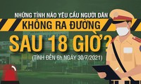 Những tỉnh nào yêu cầu người dân không ra đường sau 18 giờ?