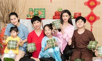 Mẹ con Trương Quỳnh Anh cùng nhà Xuân Lan, Thân Thúy Hà gói bánh chưng đón Tết
