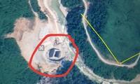 Vị trí thủy điện Rào Trăng 3 trên Google Map (khoanh đỏ), cách thủy điện này 3km là vị trí được cho là đoàn công tác gặp nạn do lở đất trong đêm.