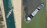 """""""Bóng ma"""" kênh đào Suez: Một con tàu khác mắc kẹt ở sông, giống y hệt tàu Ever Given"""