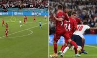 Vì sao trọng tài trận Anh - Đan Mạch được phép không dừng trận đấu dù ở sân có 2 quả bóng?