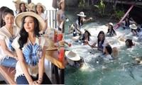 Đang chụp ảnh khoe dáng cầu bất ngờ sụp, 30 thí sinh Hoa hậu Thái Lan rơi tòm xuống ao