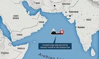 Bản đồ mô tả vị trí của con tàu chở hàng của Israel bị tên lửa Iran bắn trên Biển Ả Rập