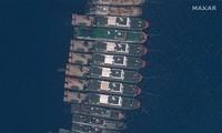 Hình ảnh vệ tinh cho thấy các tàu Trung Quốc neo đậu tại đá Ba Đầu. Ảnh: Lực lượng vũ trang Philippines