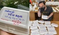 """Thầy giáo 8X nắn nót viết lời nhắn nhủ ấm áp lên """"hộp cơm chữ"""" gửi Bệnh viện dã chiến"""