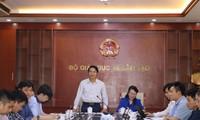 Bí thư T.Ư Đoàn, Chủ tịch Hội đồng Đội T.Ư Nguyễn Ngọc Lương phát biểu tại buổi làm việc.