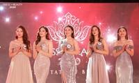 Top 5 thí sinh bước vào vòng thi ứng xử tại đêm chung kết cuộc thi Tài sắc nữ sinh Báo chí 2020
