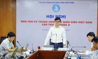 Anh Bùi Quang Huy, Bí thư T.Ư Đoàn, Chủ tịch T.Ư Hội SVVN chủ trì Hội nghị trực tuyến Ban thư ký Hội SVVN lần thứ 4, khóa X. Ảnh: Dương Triều