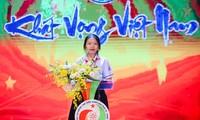 Em Hoàng Thị Yến, học sinh Lớp 9/2, trường THCS Tôn Thất Tùng, Quận Tân Phú, TPHCM đã đọc Thông điệp Đại hội Tài năng trẻ Việt Nam lần thứ 3, năm 2020. Ảnh: Trọng Tài
