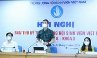 Anh Bùi Quang Huy, Bí thư thường trực T.Ư Đoàn, Chủ tịch T.Ư Hội SVVN phát biểu tại hội nghị. Ảnh: Dương Triều