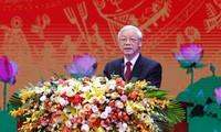 Tổng Bí thư Nguyễn Phú Trọng phát biểu tại Lễ kỷ niệm. Ảnh Như Ý