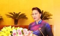 Chủ tịch Quốc hội Nguyễn Thị Kim Ngân phát biểu khai mạc Kỳ họp thứ sáu, Quốc hội khóa XIV. Ảnh: TTXVN
